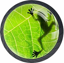 Frog Shadow On The Leaf Kitchen Cabinet Knobs -