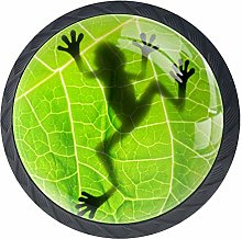 Frog Shadow On The Leaf Kitchen Cabinet Knobs