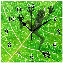 Frog Tropical Leaves Wall Clock Silent Non-Ticking