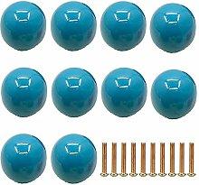 Frolahouse 10 PCS Blue Door Knobs, Round Ceramic