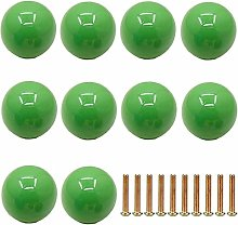 Frolahouse 10 PCS Green Door Knobs, Round Ceramic
