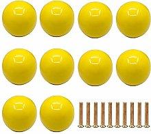 Frolahouse 10 PCS Yellow Door Knobs, Round Ceramic