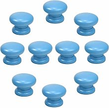 Frolahouse 10pcs Round Blue knob Wooden Cabinet