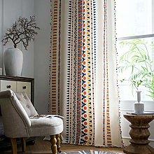 Frolahouse 2 Panels Bohemian Cotton Linen Curtain