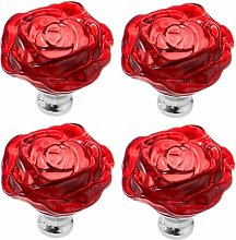 Frolahouse 4 PCS 50mm Red Crystal Glass Rose Pull