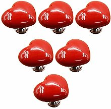 Frolahouse 6pcs Red Ceramic Single Hole Door