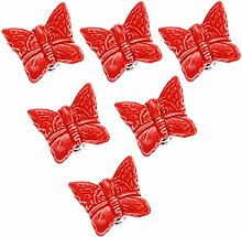Frolahouse 6pcs Red Single Hole Ceramic Door