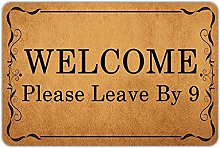 Front Door Mat Welcome Mat Welcome Please Leave by