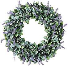 Front Door Wreath 18-Inch Artificial Lavender