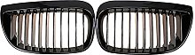 Front Kidney Grille Grill Gloss Black Racing