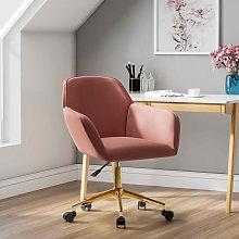 Frosted Adjustable Swivel Velvet Office Chair, Pink