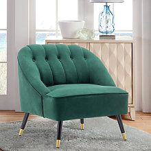 Frosted Velvet Buttoned Accent Chair, Green