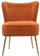 Frosted Velvet Buttoned Cocktail Accent Chair,