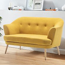 Frosted Velvet Buttoned Tub 2 Seater Sofa, Yellow