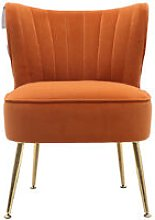 Frosted Velvet Cocktail Accent Chair, Orange