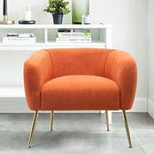 Frosted Velvet Tub Armchair Single Sofa, Orange
