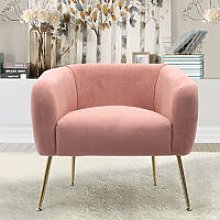 Frosted Velvet Tub Armchair Single Sofa, Pink