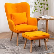 Frosted Velvet Wingback Lounge Armchair and