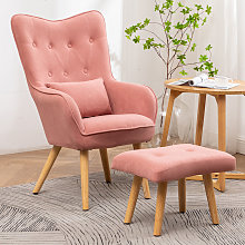 Frosted Velvet Wingback Lounge Armhair and