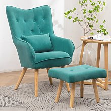 Frosted Velvet Wingback Lounge Chair and