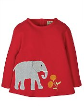 FRUGI GOTS Red Elephant Appliqué Top - 1.5-2 years