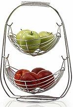 Fruit Basket,Fruit Bowl,Fruit Stand,Chrome