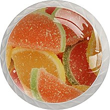 Fruit Candy 4Pcs Cabinet Knobs Round Shape Pull