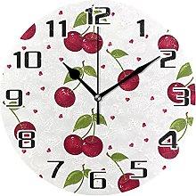 Fruit Cherry Love Heart Wall Clock Silent Non