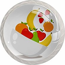 Fruit Design 4pcs Glass Cupboard Wardrobe Cabinet
