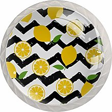 Fruit Lemon ChevronsRound Glass knob White Drawer