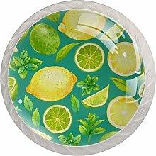 Fruit Lemon Green 4 Pieces Crystal Glass Wardrobe