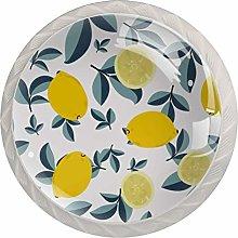 Fruit Lemon Leaves PatternRound Glass knob White