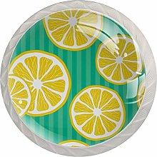 Fruit Lemon StripeRound Glass knob White Drawer