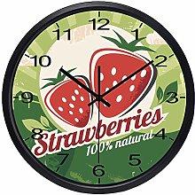 Fruit Strawberry Wall Clock Kitchen Clock(BLACK)