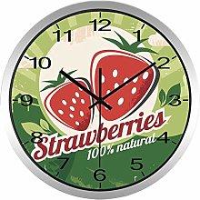 Fruit Strawberry Wall Clock Kitchen Clock(Silver)