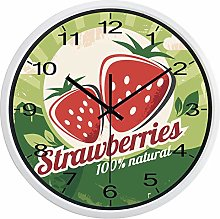 Fruit Strawberry Wall Clock Kitchen Clock(White)