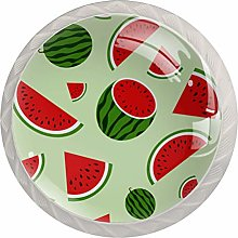 Fruit Watermelon Red Green 4 Pieces Crystal Glass
