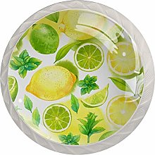 Fruit Yellow Lemon PatternRound Glass knob White