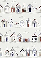 Fryetts Beach Huts Blue PVC Fabric Wipe Clean