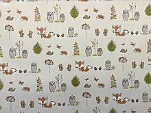 FRYETTS FABRIC WOODLAND FOX OWLS PVC WIPE CLEAN