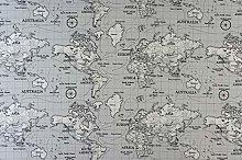 Fryetts Maps Grey PVC Fabric Wipe Clean Tablecloth