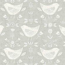Fryetts Narvik Birds Design Grey PVC Fabric Wipe