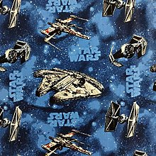 FS598_3 Star Wars Rebel Ships Blue Cotton Fabric