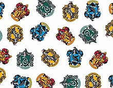 FS635_7 Harry Potter All Houses Crests Cotton