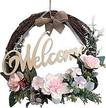 FSADGNO Artificial Farmhouse Wedding Wreath Round