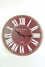 FSL- Clock Large 40cm Wall Clock Red Burgundy and