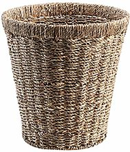 FSYGZJ Natural Round Seagrass Waste Paper Basket