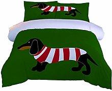FTDUTR Double Bedding 3 Pieces Animal dog Pattern