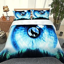 FTDUTR Double Bedding 3 Pieces Forest animal wolf