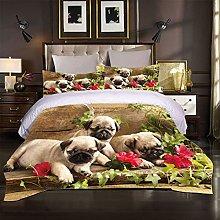 FTDUTR Double Bedding 3 Pieces Three animal dogs